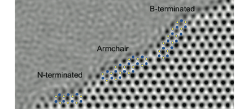 Reconstructed exit wave phase of the three edge termination types in hexagonal boron nitride membrane